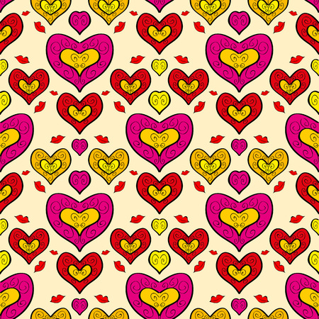 Abstract holiday seamless pattern with hearts for your design