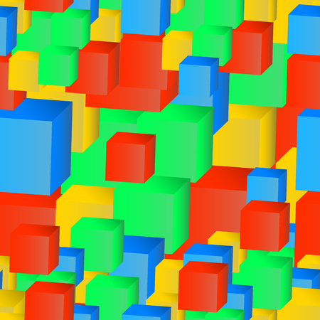 Abstract seamless pattern of colored cubes for your design Illustration