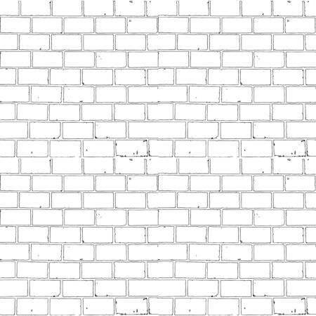 Seamless monochrome brick background for your design Illustration