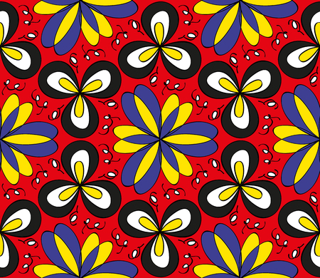 Seamless colorful floral pattern on a red  background Illustration