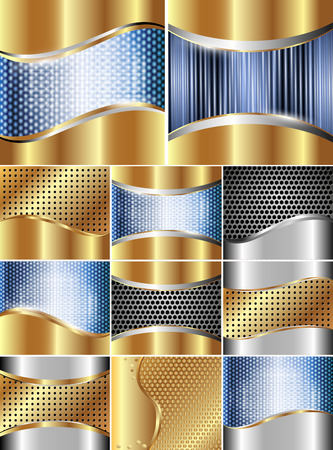 Set of backgrounds with metal grille and decorative inserts Vector