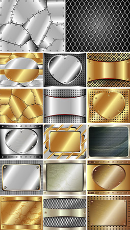 Set of abstract metal background for your design Illustration