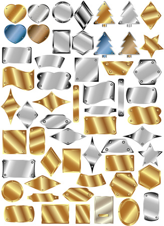 Set of metal plates of different shapes and colors with rivets