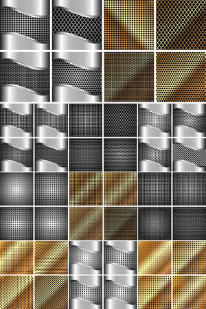 Set of steel and gold metal texture for your design Illustration