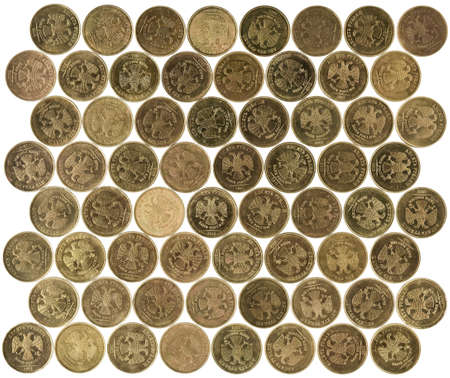 ruble coins on white background Stock Photo