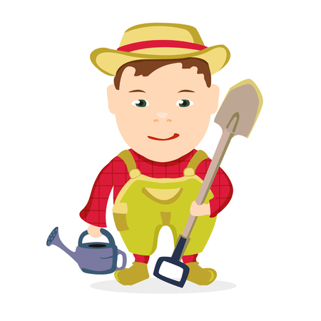 an agronomist: farmer boy with a shovel on a white background Illustration