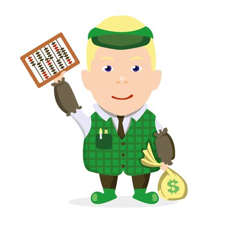 Accountant boy with a bag of money on a white background