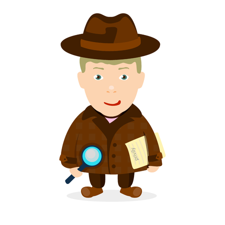 inspector kid: boy detective in a coat on a white background