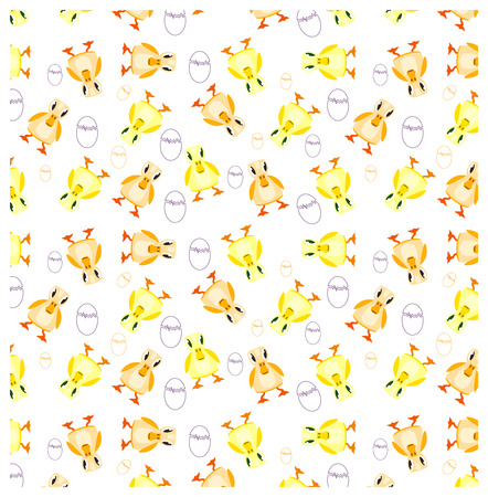 ducklings: pattern of ducklings and eggs, yellow, white