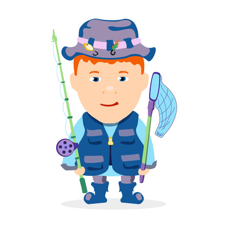recreational fishermen: Fisher boy with a fishing rod on a white background Illustration