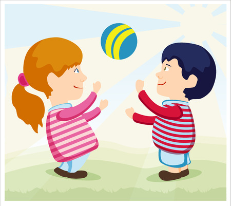 children at play: Children play with a ball