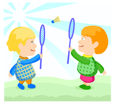 children at play: children play badminton Illustration