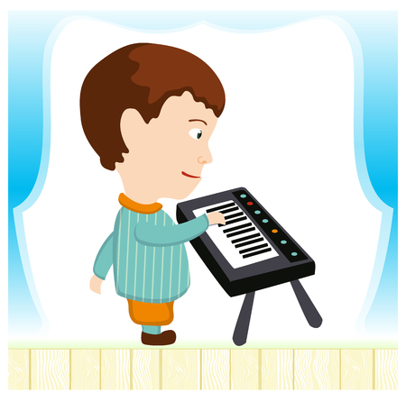 play popular: boy with a synthesizer