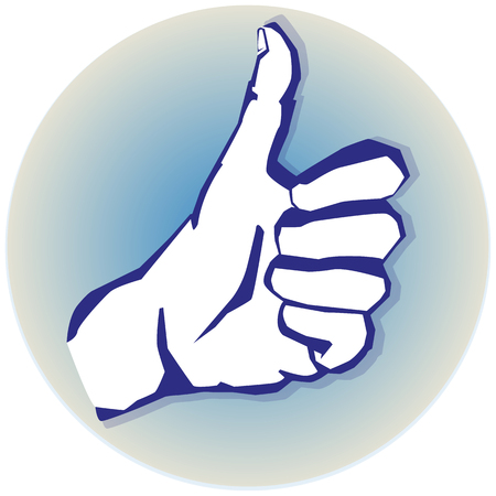 endorsing: hand with thumb up Illustration