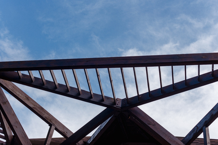part of the wooden roof, rafter system Stock Photo