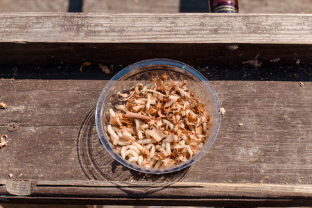 Many larvae for fishing in a  plastic jar on the old wooden background