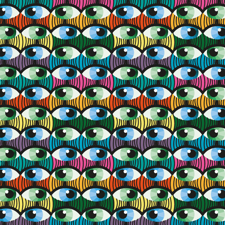 witness: Seamless colorful eye witness cartoon illustration background pattern in vector Illustration