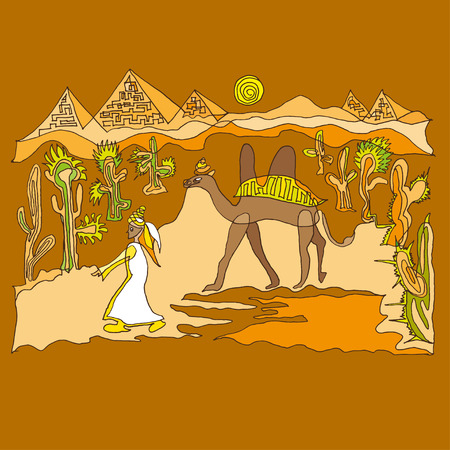 camels: Sahara with camels and dunes vector illustration