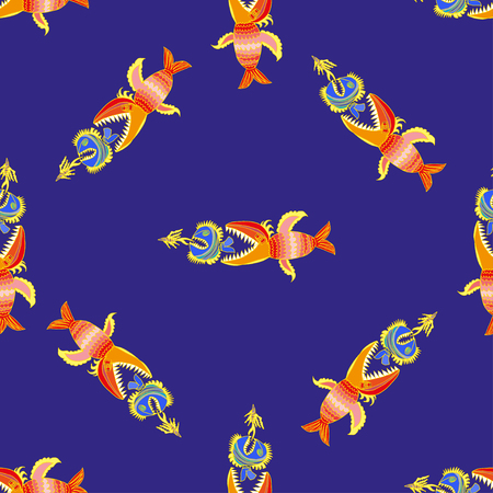 natural selection: Seamless pattern with hand drawn fishes vektor
