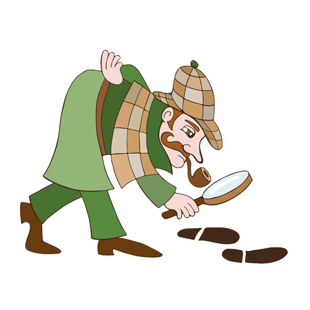 private eye: Detective Cartoon illustration of a detective on a white background Illustration