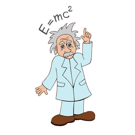 relativity: cute cartoon illustration of a scientist pointing at the famous theory of relativity formula on the board Illustration