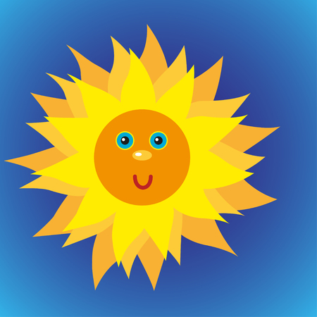 beam with joy: Vector illustration of cool single weather icon shiny sun in the blue sky