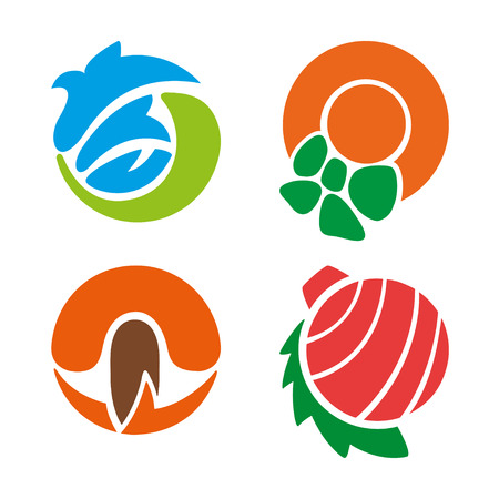 scorching: Vector Set of Seasons Icons. Winter, Spring, Summer, Autumn.