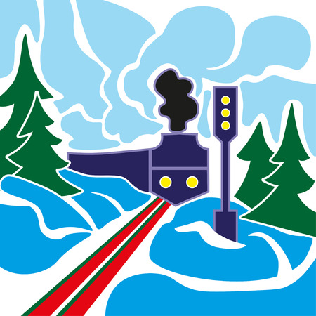old train: Old train with gray smoke and winter landscape with frozen forest on a blue sky background. Illustration