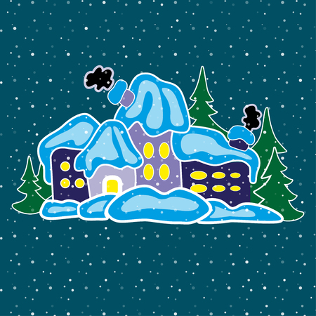 chalet: House in winter christmas forest vektor illustration Illustration