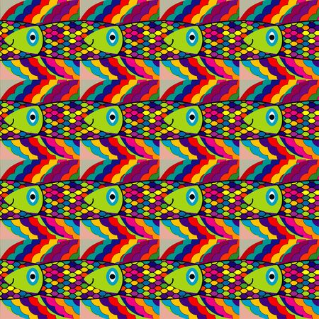 eclectic: seamless pattern - colorful fantasy fish in deep waters
