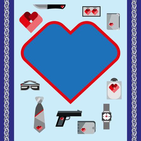 st  valentine's: St. Valentines Day Symbols mens Accessories Icons Set Flat Design Template Vector Illustration