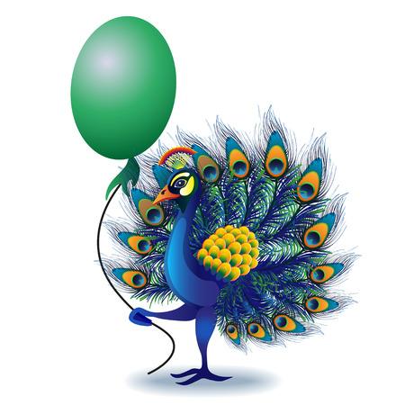 공작 인사말 카드입니다. 벡터에서 만든 공작의 프레임입니다. 완벽한 카드, 또는 다른 종류의 디자인, 생일 및 기타 공휴일.