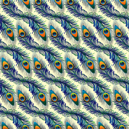 Seamless exotic peacock pattern background in vector