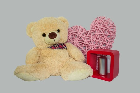 loveheart: Teddy Bear with Love Heart on White Background Stock Photo