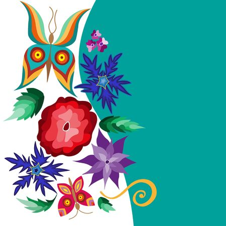 unfold: Collection of floral elements with flying butterflies and flowers, vector illustration.