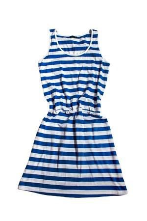 sundress: women sundress summer dress in blue stripes isolated Stock Photo