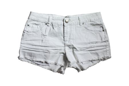 capri pants: female white shorts isolated on white background Stock Photo