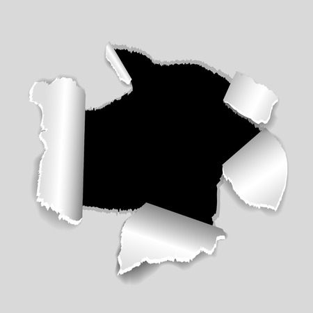 gash: Torn paper, a hole in a sheet of paper with shadow