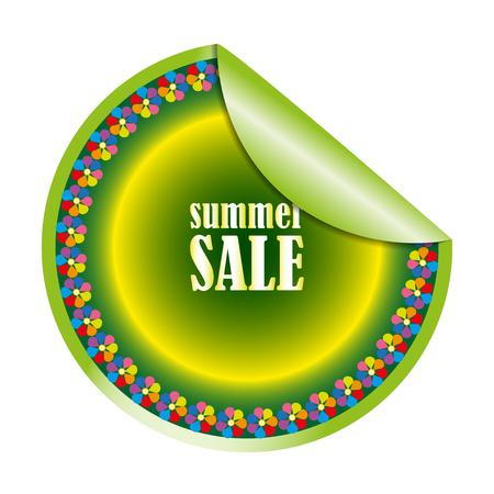 trade off: Summer sales round sticker on white background
