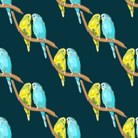 amore: Seamless pattern with dotted parrots and hearts on the colorful blots background