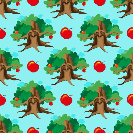 patchwork landscape: Cute seamless childish patchwork pattern. Adventure of apple tree. Can be used for kitchen textile or bed linen fabric, interior wallpaper design.