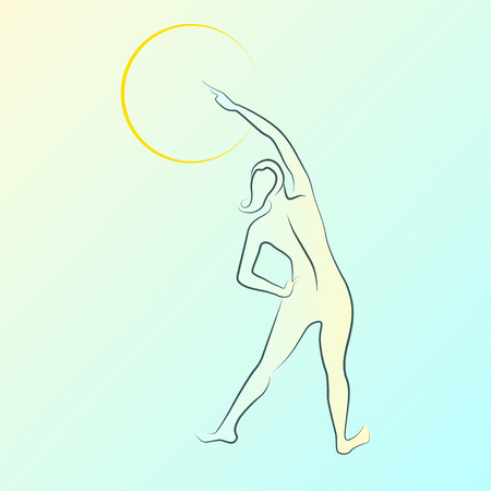 intimate: Elegant woman silhouette in a linear sketch style. Intimate Hygiene, woman health, Skin and body care, diet, fitness Illustration