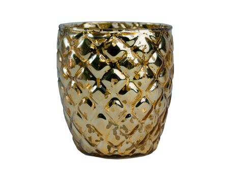 Golden ornamented candle isolated on white background 스톡 콘텐츠