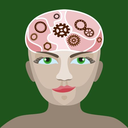 concentration gear: cog wheels forming a brain shape in the head shape. the concept of human intelligence. Head and Brain Gears in Progress