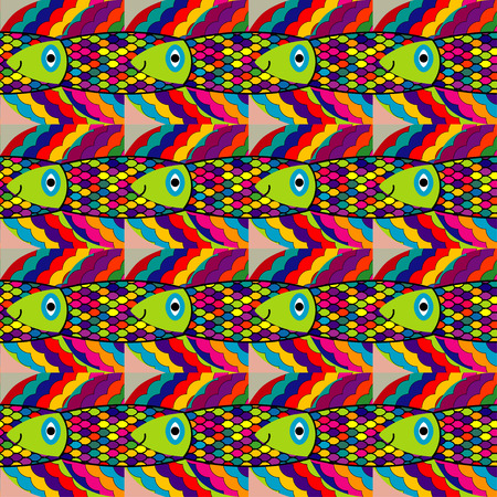 deep: seamless pattern - colorful fantasy fish in deep waters