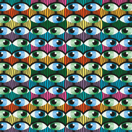 witness: Seamless colorful eye witness cartoon illustration background pattern in
