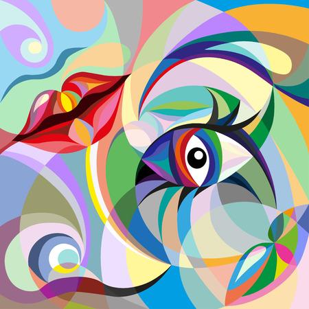 モザイク パターンで梨花顔の抽象的なポートレート 写真素材