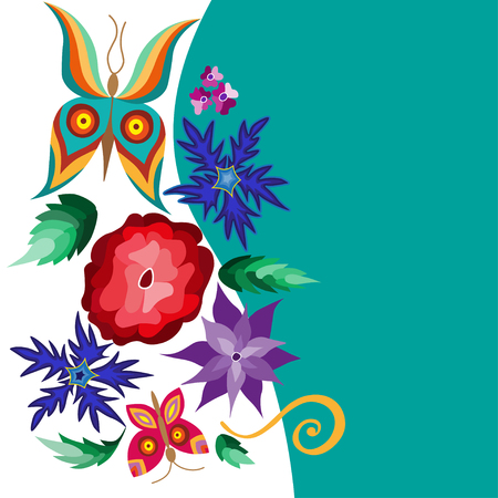 flit: Collection of floral elements with flying butterflies and flowers, illustration. Stock Photo