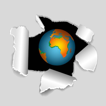 paper hole: Earth globe coming out of paper hole Stock Photo