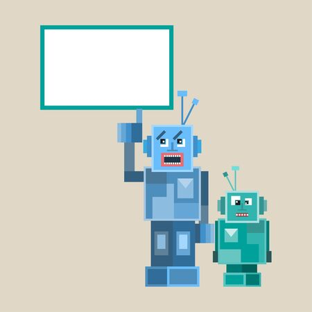 talking robot: Robot cute icons and characters illustration